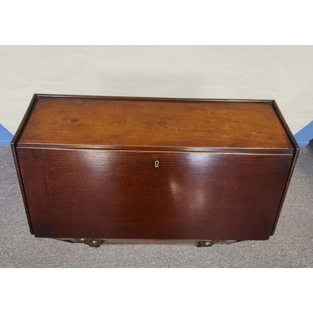 Antique England Oak Barley Twist Drop Front Secretary Desk For Sale - Image 4 of 11