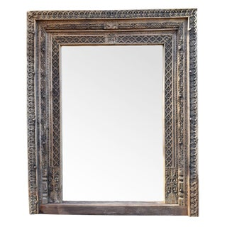 Large Architectural Carved Doorway Mirror For Sale