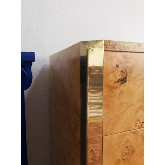 Burl Wood and Brass Credenza Sideboard Style of Pierre Cardin For Sale - Image 11 of 12
