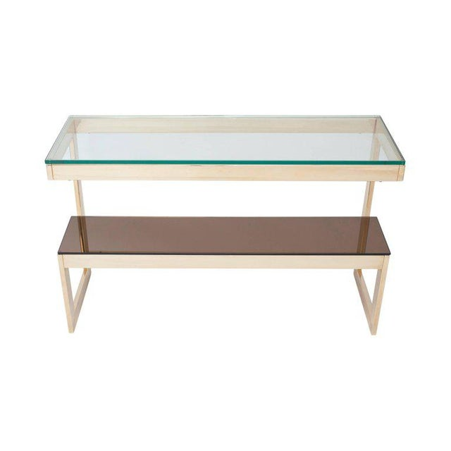 Gold Layered G Two-Tier Console Table For Sale - Image 6 of 9