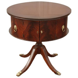 1930s English Traditional Round Mahogany Pedestal Table For Sale