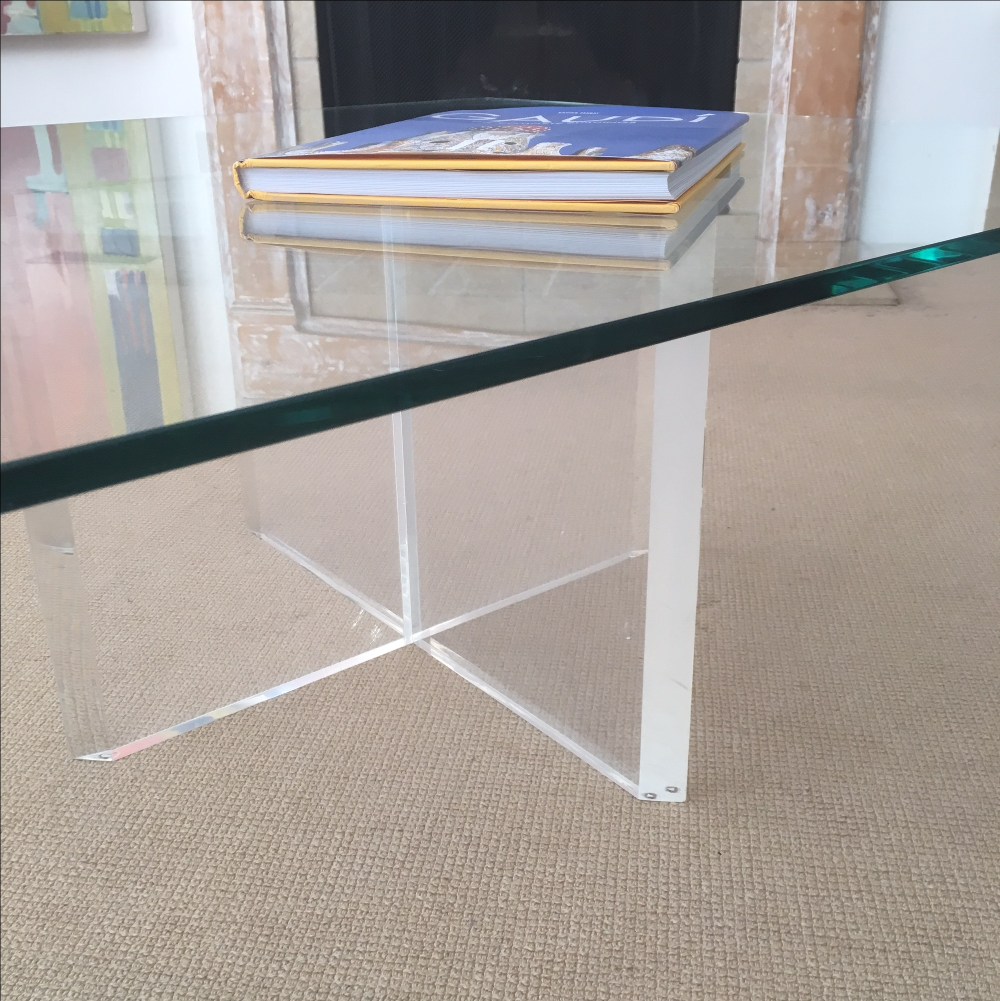 Mid Century Lucite U0026 Glass Coffee Table   Image 6 ...