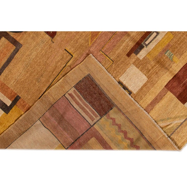 Art Deco Vintage Art Deco Style Square Wool Rug For Sale - Image 3 of 13