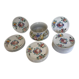 Queen's Rose Italian Serving Bowl Majolica Plates Set of 12 For Sale