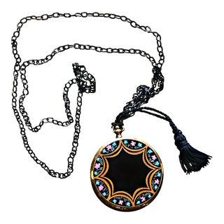 1920s Vintage Black Enamel Floral Design Art Deco Mirror Compact Necklace Pendant For Sale