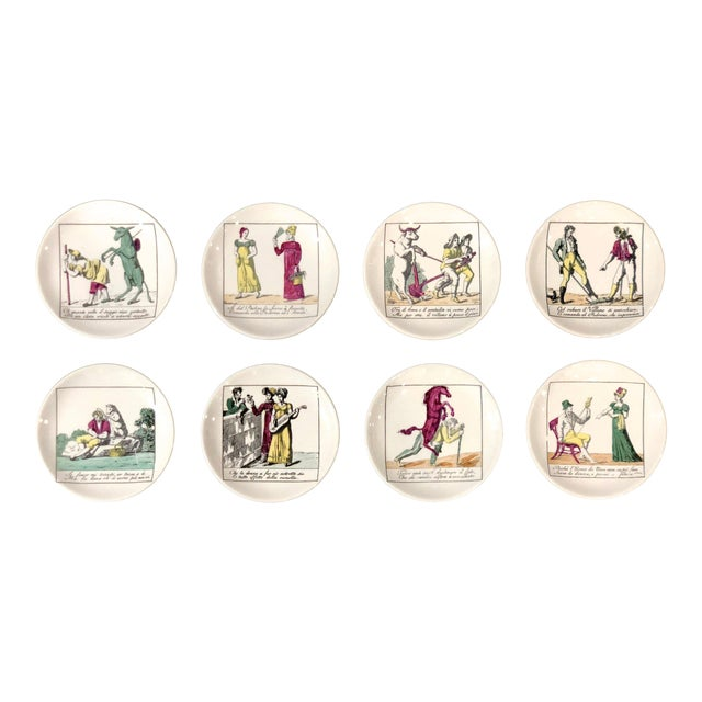 Piero Fornasetti Coasters With Original Box and Impressed Liners - Set of 8 For Sale