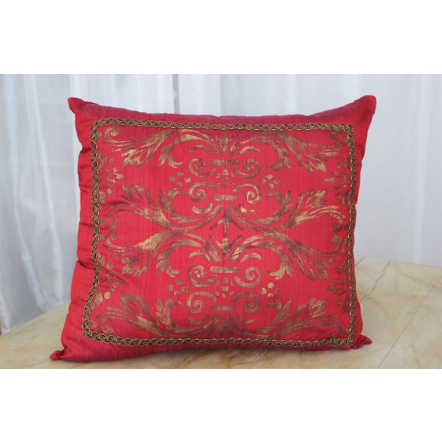 This is a Cherry/Purple Pillow Cover by Isabelle H. Painted Textiles. The cover is made from Dupioni 2-Color Cherry...