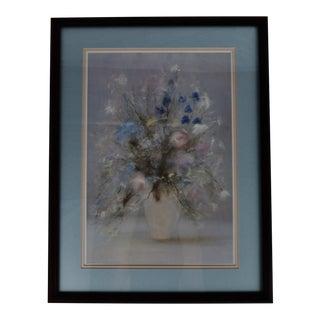 Vintage Framed Floral Still Life Pastel Print For Sale