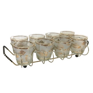 Vintage 1960's Libbey Frosted and Gold Sealife Old Fashioned Glasses in Caddy - Set of 8 For Sale