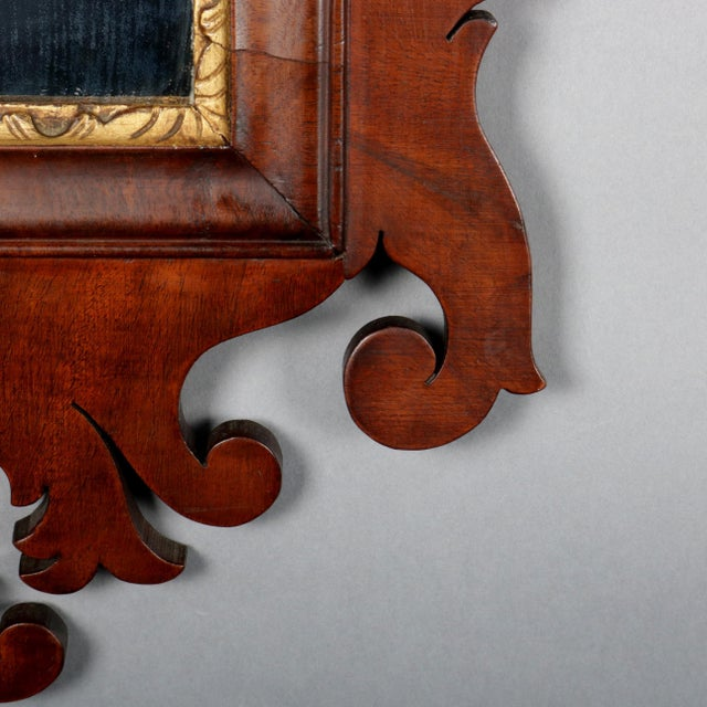 Early 19th Century Antique Federal Chippendale Figural Mahogany & Gilt Phoenix Wall Mirror For Sale - Image 5 of 10