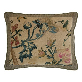 Antique 17th Century French Louis XV Rococo Needlepoint Pillow - 18'' X 14'' For Sale