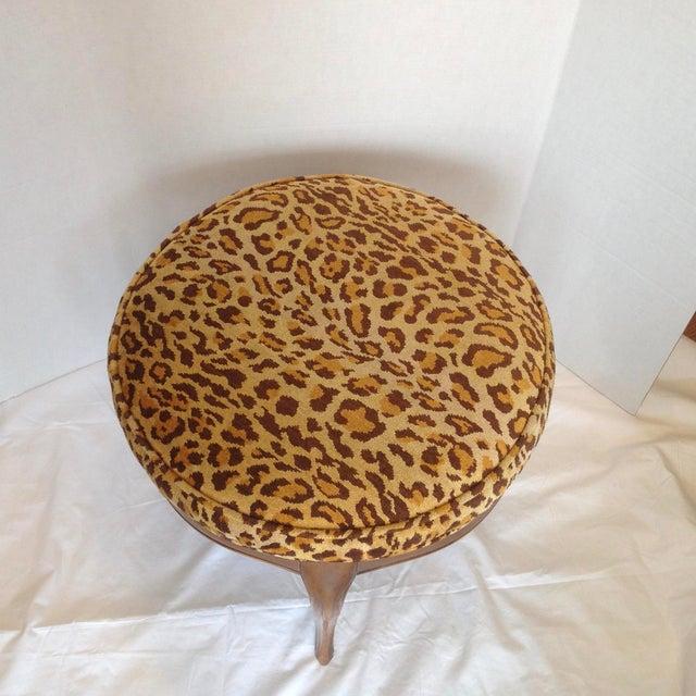 Vintage Italian Leopard Upholstered Vanity Stool For Sale - Image 9 of 13