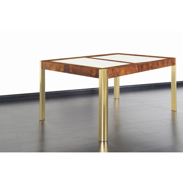 1970s Vintage Burl Wood and Brass Dining Table by Century Furniture For Sale - Image 5 of 13