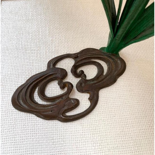 Metal Antique French Daffodil Iron Brass Flower For Sale - Image 7 of 8