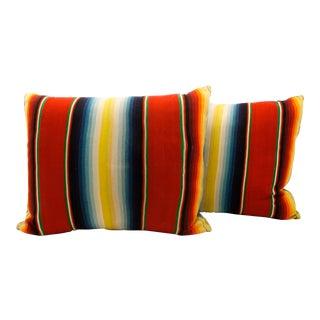 Vintage Serape and Denim Pillow - A Pair