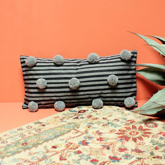 Black Handwoven Lurik Striped Pillow With Concrete Grey Pom-Poms - Image 3 of 7