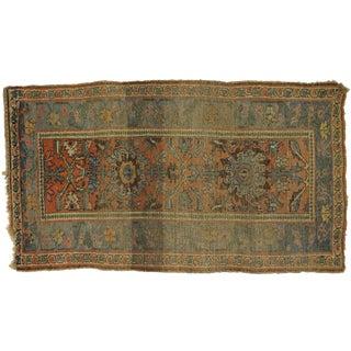 Distressed Antique Persian Bijar Rug - 4'1 X 7'00 For Sale