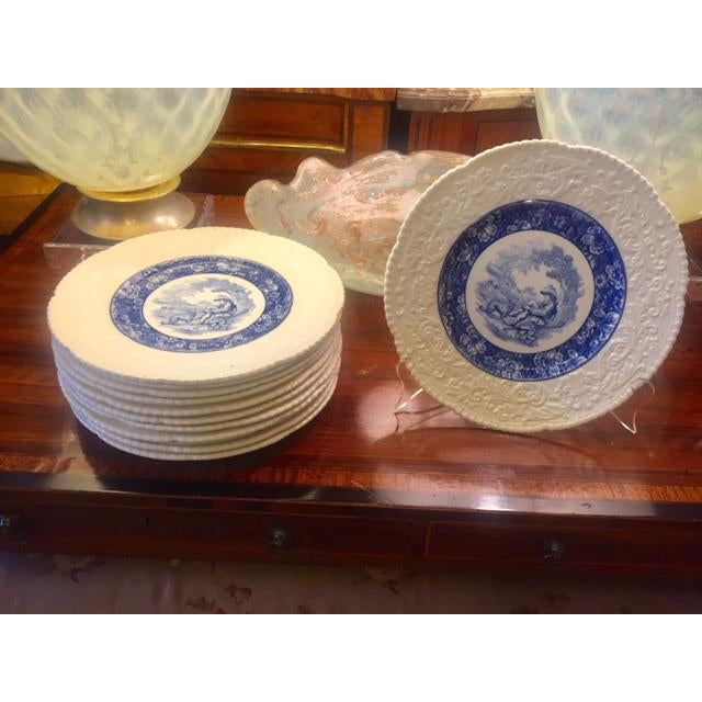 French Country Blue Transferware Charger Round Plates - Set of 12 For Sale - Image 13 of 13