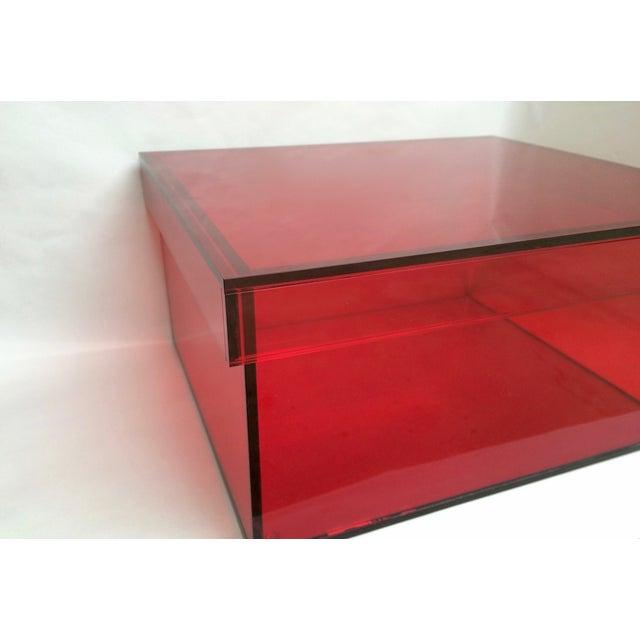 Vintage Red Acrylic Storage/Desktop Box - Image 4 of 7