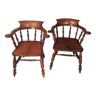 19th Century Antique English Ashwood Captains Chairs- A Pair For Sale