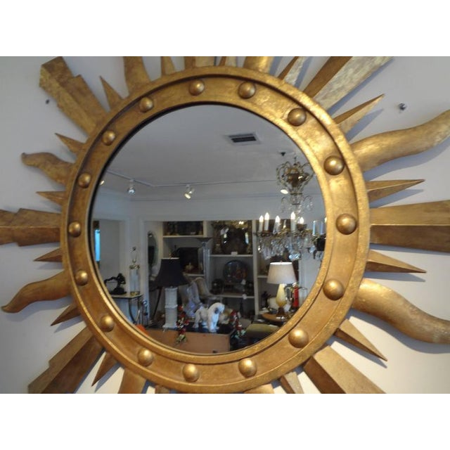Gilbert Poillerat 1960s Vintage Italian Gilt Iron Sunburst Mirror For Sale - Image 4 of 8