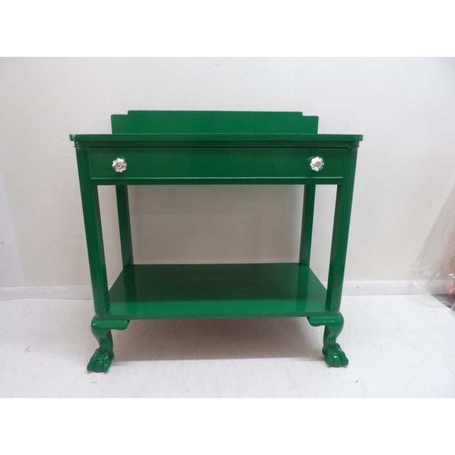 Contemporary Antique Green Lacquer Wood Console Table For Sale - Image 3 of 11