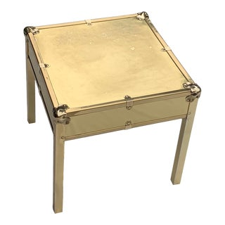 Vintage Hollywood Regency Riveted Brass Square End Table For Sale