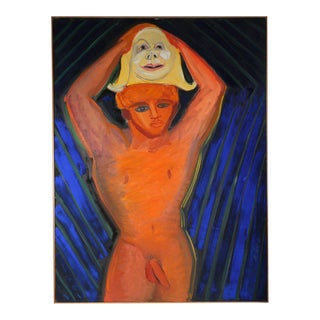 Michael di Cosola Male Nude with Mask, Oil on Canvas, 1966 For Sale