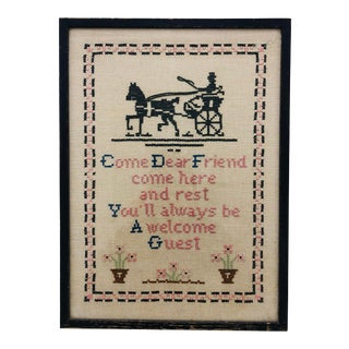 "Antique Hand Stitch in Frame ""Come Dear Friend"" For Sale"
