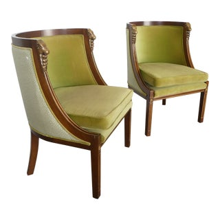 Late 20th Century Vintage Italian Empire / Neoclassical Style Rams Head Bergere Chairs For Sale
