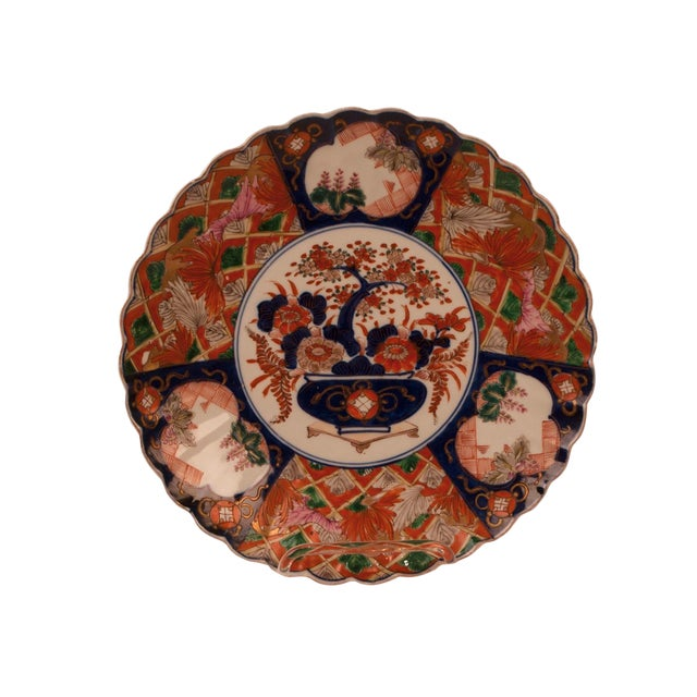 1880s Japanese Imari Porcelain Scalloped Charger Plate For Sale