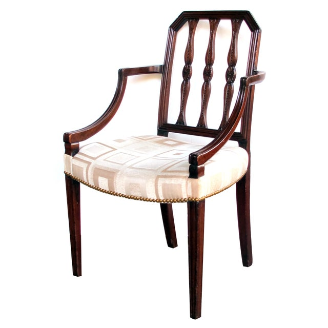 Textile A Handsome English George III Sheraton Mahogany Arm Chair For Sale - Image 7 of 7