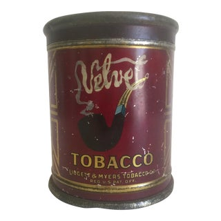 "Rare Vintage Early 1900's ""Velvet Ligget & Myers Co."" Lithograph Print Tobacco Tin Container For Sale"