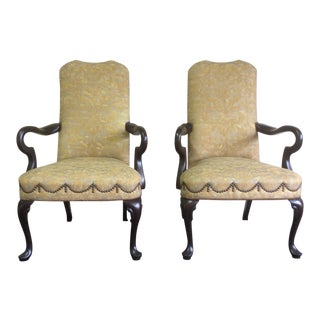 English Style Arm Chairs With Fortuny Upholstery - a Pair