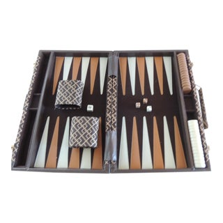 Vintage Brown and Tan Meandering Border Pattern Backgammon Game For Sale