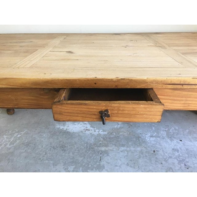 Mexican Carved Wood Single Drawer Dining Table For Sale - Image 5 of 6