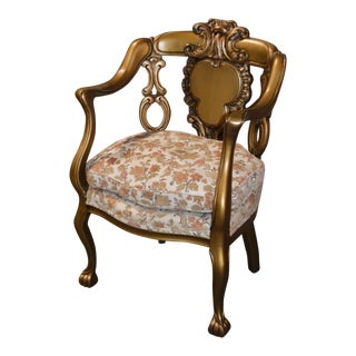 Antique Carved Edwardian Style Chair For Sale