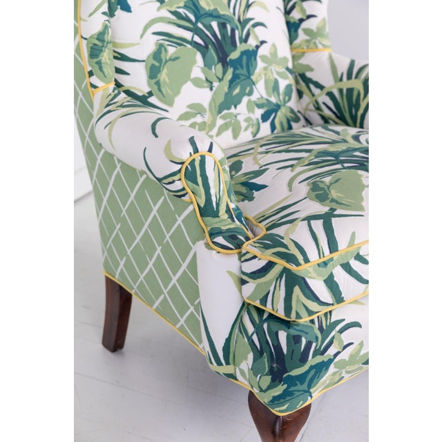 1960s Vintage Palm Leaf Pattern Fabric Wingback Chair For Sale - Image 9 of 13