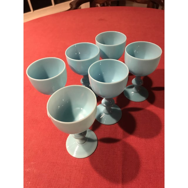 A set of six vintage in turquoise or French blue wine glasses by Portieux Vallerysthal.