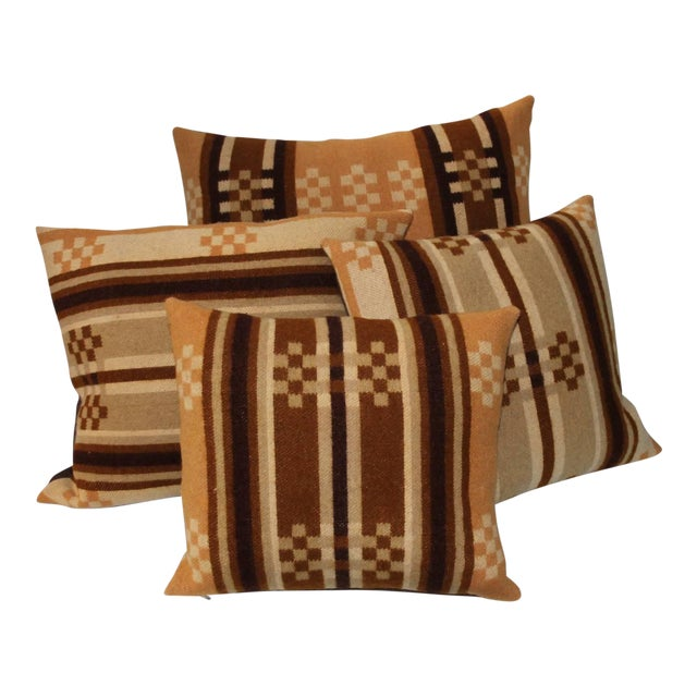 Group of Four Horse Blanket Pillows For Sale