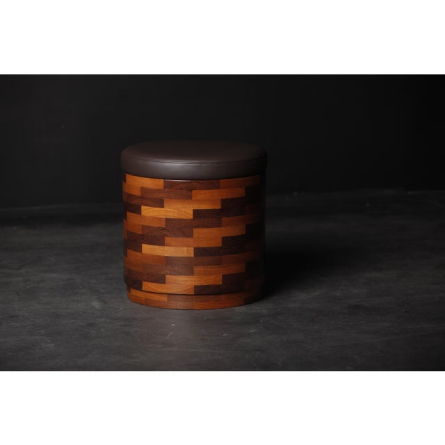 2020s Brown Teak Stool from Pitsilkas For Sale - Image 5 of 5