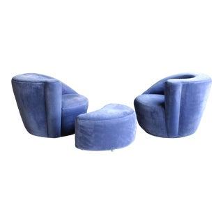 Vladimir Kagan Nautilus Swivel Chairs, a Pair + Ottoman For Sale
