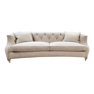 Tufted Back Gently Curved Sofa in Oyster Velvet W/ Polished Acrylic Feet For Sale