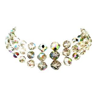 1950's Laguna Glass Bead Triple Strand Choker Style Necklace For Sale