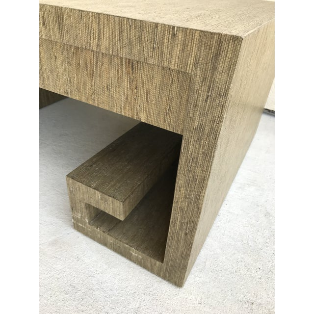 Grasscloth Greek Key Coffee Table For Sale - Image 9 of 13