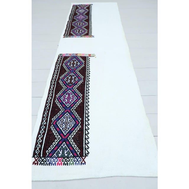 Beautiful vintage turkish kilim runner rug made pure handspun wool and dyed naturally . Beautiful colors. this vintage...