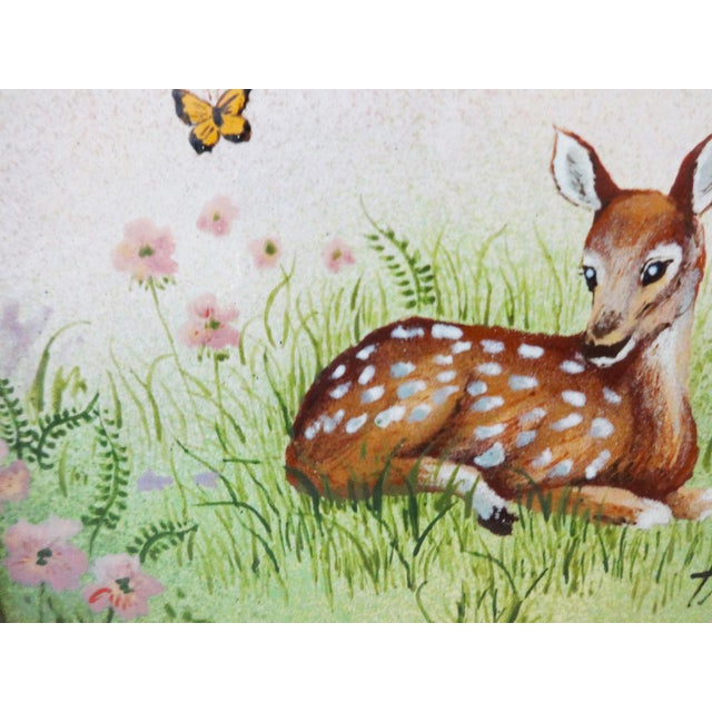 Framed Painting on Metal of a Deer For Sale - Image 4 of 7
