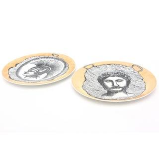 1960s Vintage Italian Fornasetti Style Bucciarelli Porcelain Plates- A Pair Preview