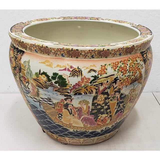 Royal Satsuma Japanese Hand Painted & Transferware Planter C.1950s For Sale - Image 10 of 10