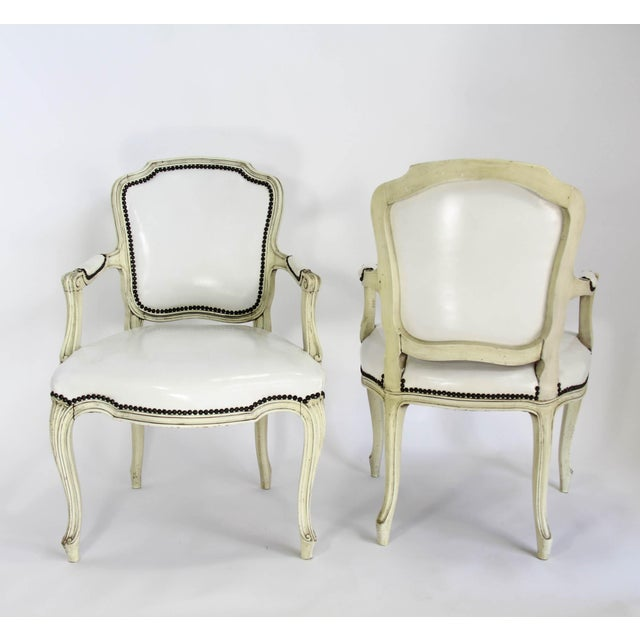 Mid-20th Century Boho Chic Carved Wood and White Leather Arm Chairs - a Pair - Image 9 of 13